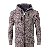 PASATO Men's Classic Casual Autumn Winter Zipper Fleece Hoodie Outwear Tops Sweater Blouse Coat Pure Color clothes(Coffee, L)