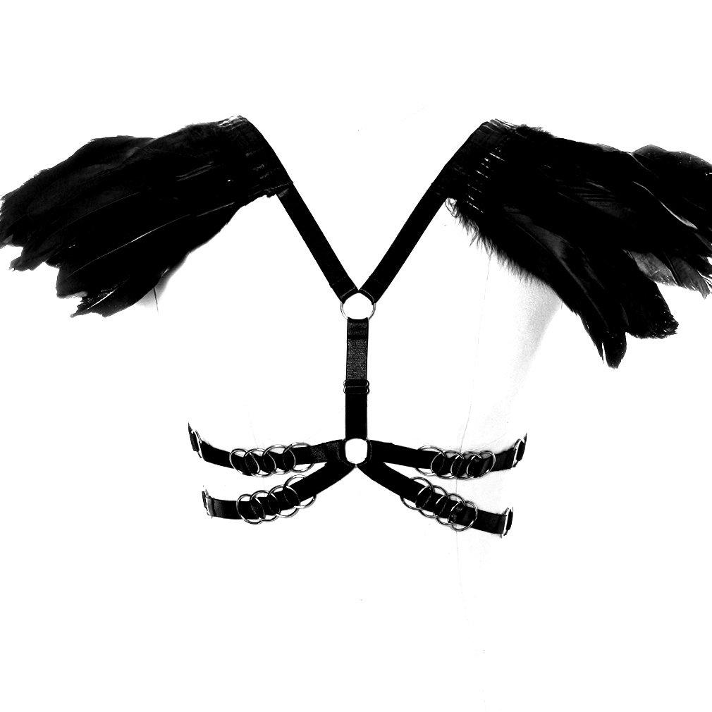 BANSSGOTH Feathers Harness Bra Top Epaulettes Shoulder Burning Man Festival Plus Size