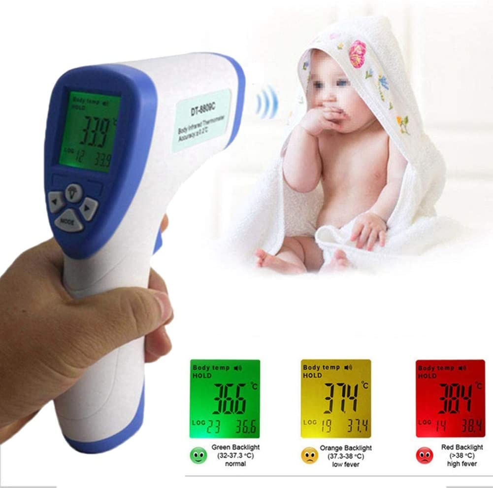 Infrared Thermometer Temperature Gun POEO Forehead Ear Thermometer Non Contact Infrared Thermometer with LED Backlight Display for Baby and Adults