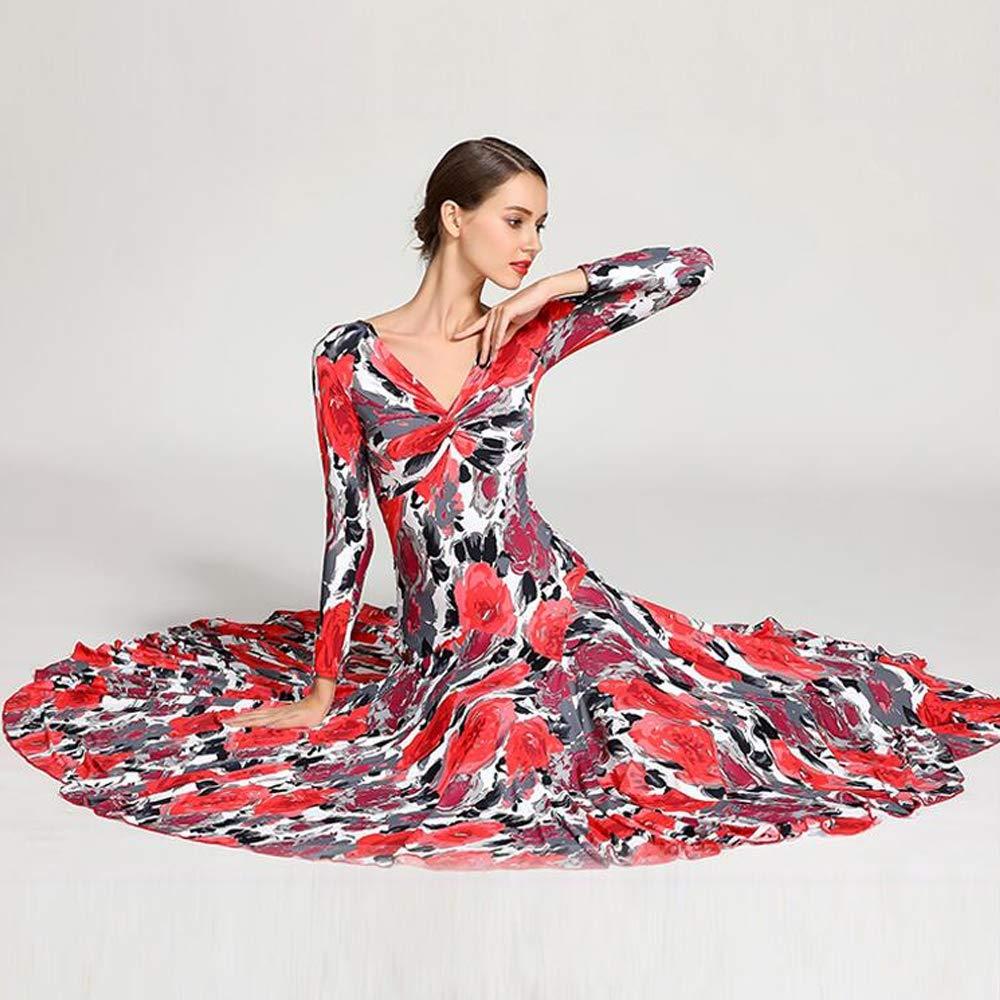 CPDZ Woman Dance Kleid rote Blaumenprints Langen Langen Langen Ärmel Social Dance Rock tiefen V-Hals Latin Belly Tanzkostüm voluminösen Rock groß von XL 2XL B07NZNWFMX Bekleidung Abgabepreis 25b056