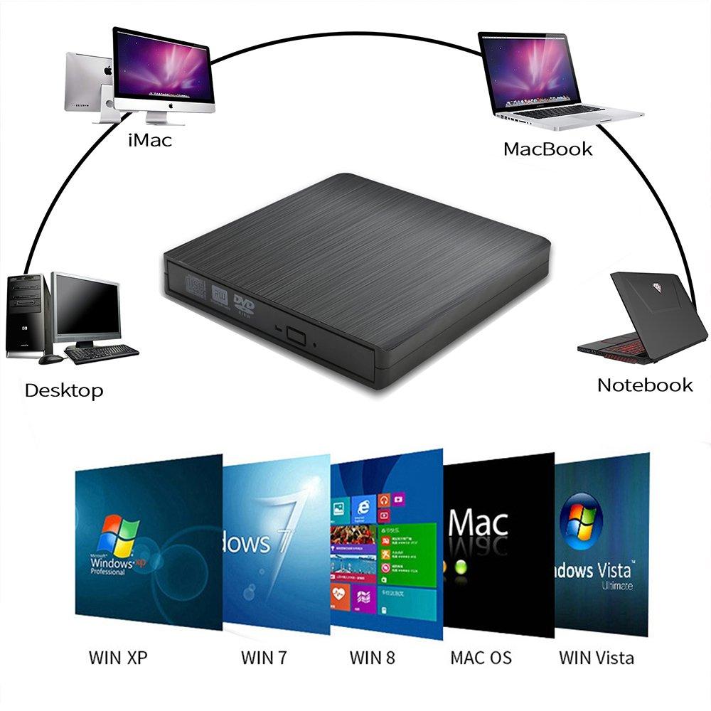 External CD/DVD Drive for Laptop USB CD Burner, Portable USB 2.0 High Data Transfer Speed Slim Optical cd rom drive No Need Install Drive For Laptop Mac Windows XP//vista/7/8/10 MacOS System