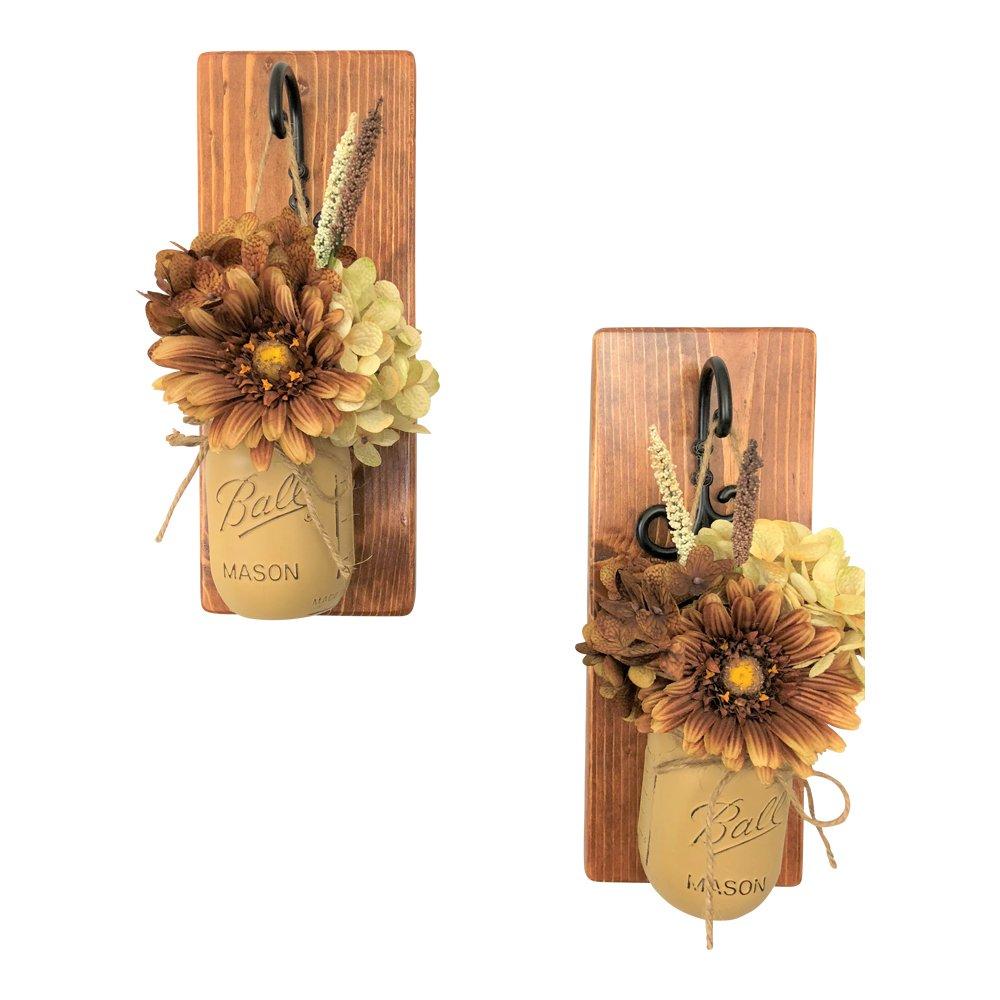 Set of 2 Mocha Espresso Mason Jar Wall Sconces Floral Arrangements