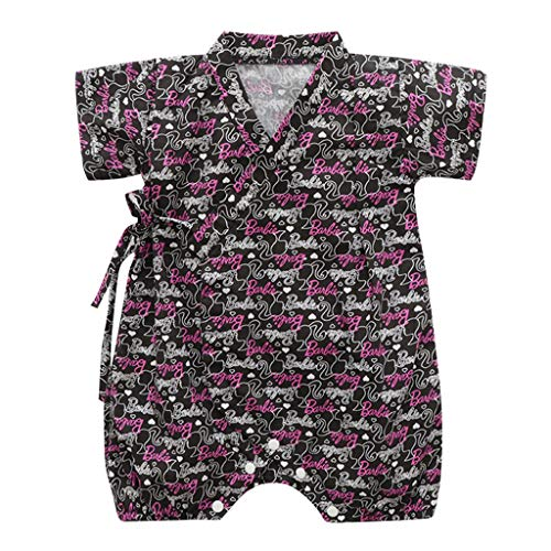 Shusuen_baby Kimono Robe Newborn Cotton Yarn Bodysuit Romper Infant Japanese Pajamas Black -