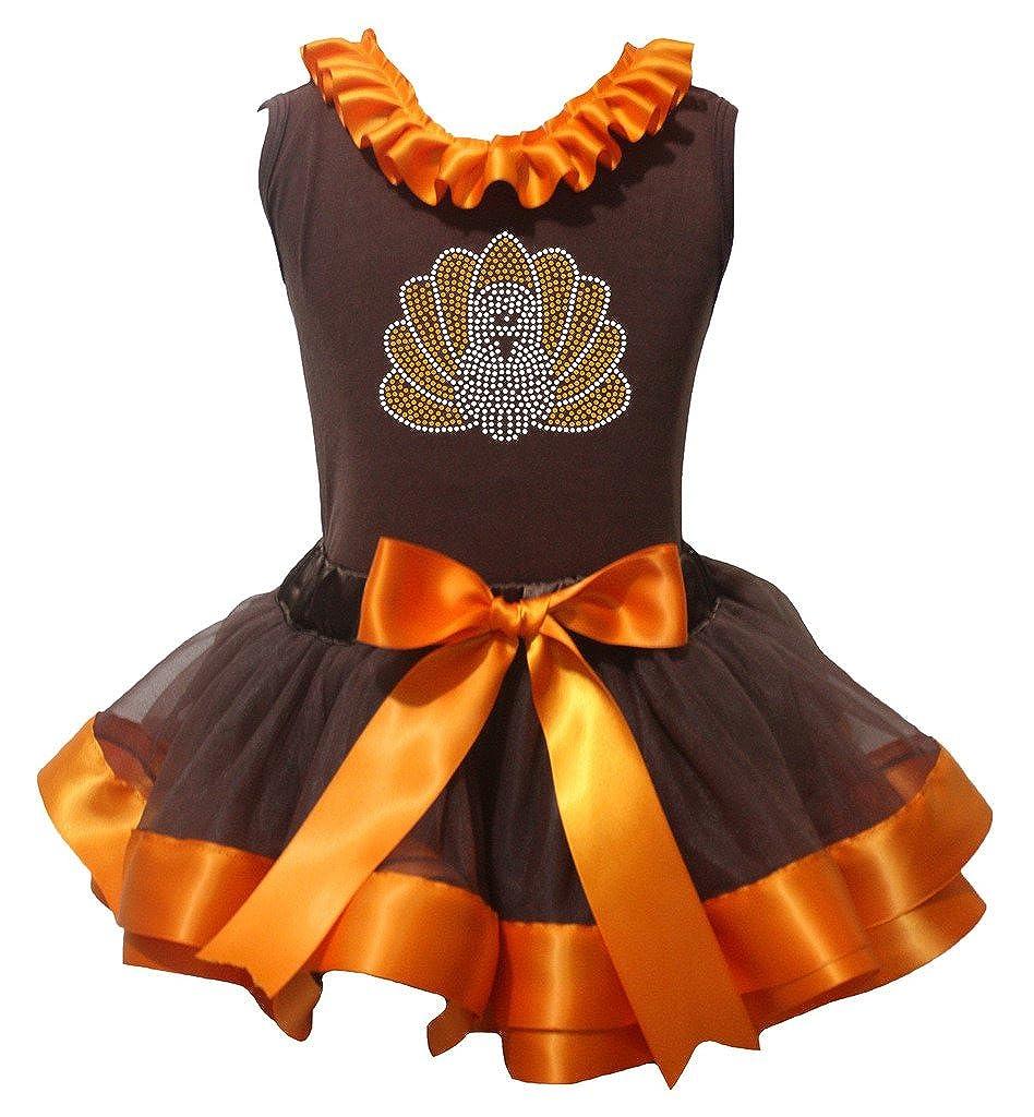 Petitebella Bling Turkey Shirt Orange Brown Petal Skirt Nb-8y