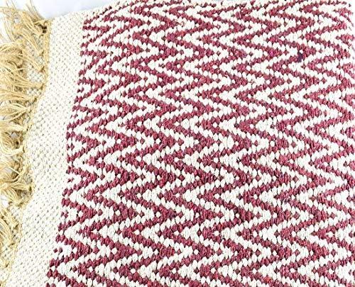 Indra - Alfombra Reversible de Yute y algodón Reciclado, 90 x 150 cm, Color Rojo: Amazon.es: Hogar