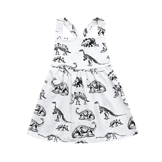 5a2b820c3483 Lurryly Toddler Infant Baby Girls Dress Cartoon Dinosaur Print Dresses  Clothing Outfits 0-3T (