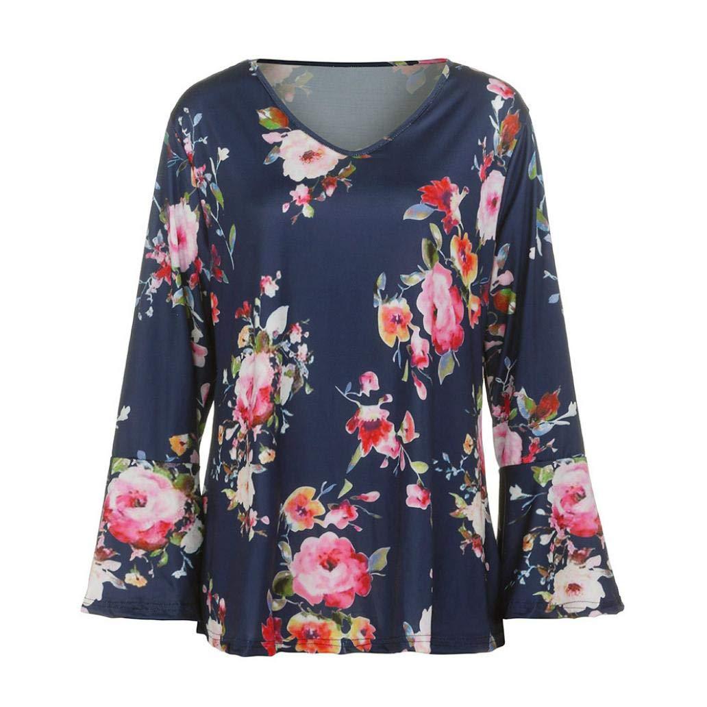 Damen Mode Herbst Blumendrucken Lange Aufflackernh/ülse Oansatz Tops Casual T-Shirt Bluse VJGOAL Damen Bluse