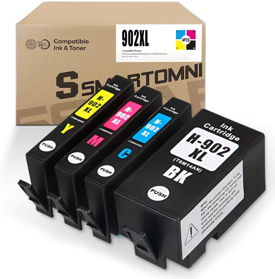 [New Chip] S SMARTOMNI Compatible 902 XL Ink Cartridge Replacement for HP 902 902XL Ink Cartridge for use in HP OfficeJet Pro 6978 6968 6954 6960 6962 6975 (4 Pack- Black Cyan Magenta Yellow)