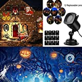 Christmas Projector Lights JZLiner Outdoor Decoration 12 Themes Moving LED Spotlights Waterproof Garden Landscape Projection Wall Light for Halloween Birthday Party