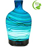 COOSA 100ml Glass Marble Pattern Essential Oils Diffuser with 4 Time Setting & 7 Color-changing Light Aroma Diffuser Cool Mist Humidifier for Home and Office and SPA (Multi2)