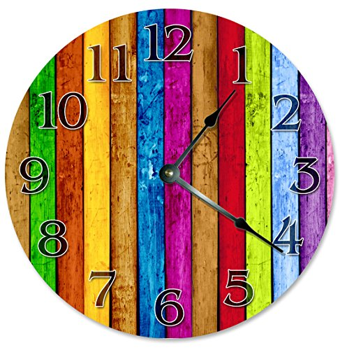 COLORED WOOD BOARDS Clock - Large 10.5