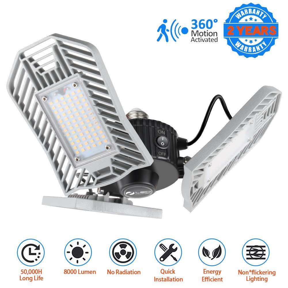 LED Garage Lights Motion Activated 8000 Lumen 80W LED Shop Lights for Garage with 3 Adjustable Panels E26 Garage Lighting for Garage Basement Workshop by JMTGNSEP