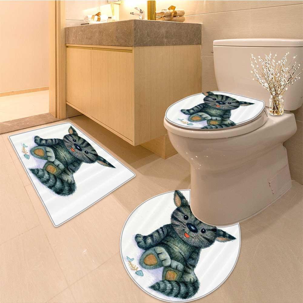 3 Piece Anti-slip mat setCat r Hand Drawn Dressed Up Trendy Hipster Ne Age Cat Urban Free Spirit Artwork Long Non Slip Bathroom Rugs