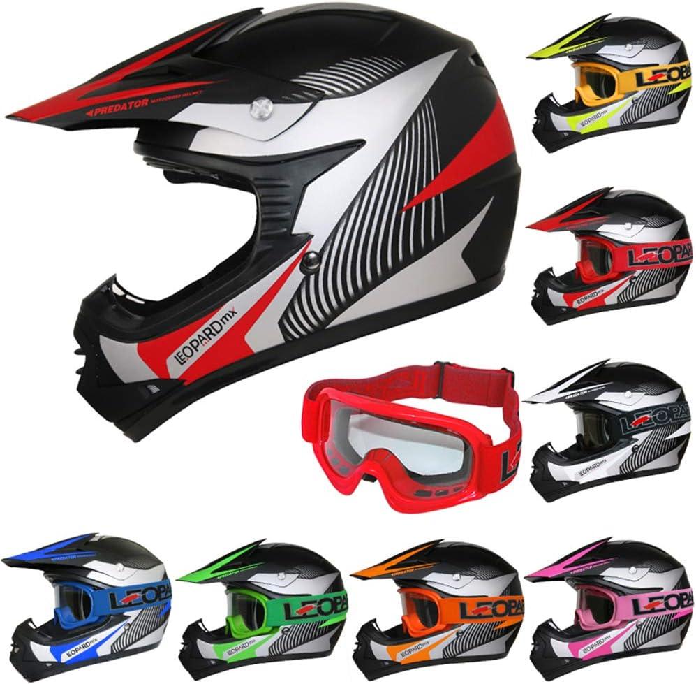 Kinder Brille} Kinder Motorradhelm Full Face MX Helmet M/ädchen Jungen Dirt Bike 49-50cm Leopard LEO-X17 {Blau Kinder Motorrad Helm S