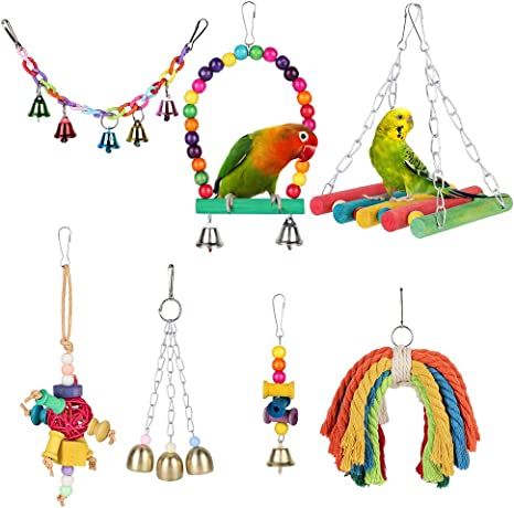 Parakeet ZUDZUW Bird Toys Parrot Swing Toys Chewing Natural Wood and Rope Bungee Bird Toy for Anchovies Pet Toys Bird Toys for Parrots Mynah Conure Cockatiel Love Birds