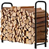 4ft Firewood Rack Outdoor Log Holder for Fireplace Heavy Duty Wood Stacker for Patio Deck Metal Kindling Logs Storage Stand Steel Tubular Wood Pile Racks Outside Fire place Tools Accessories Black