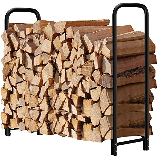 4ft Firewood Rack Outdoor Log Holder for Fireplace Heavy Duty Wood Stacker for Patio Deck Metal Kindling Logs Storage Stand Steel Tubular Wood Pile Racks Outside Fire place Tools Accessories Black - Oak Patio Door