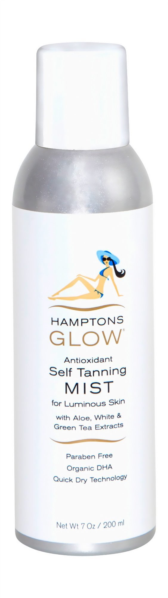 Hamptons Glow Self Tanning Mist Antioxidant Organic Luminous Not-Orange (Same Coverage as 3 Salon Visits) Includes Professional Instructions, 7 fl. oz. / 207ml