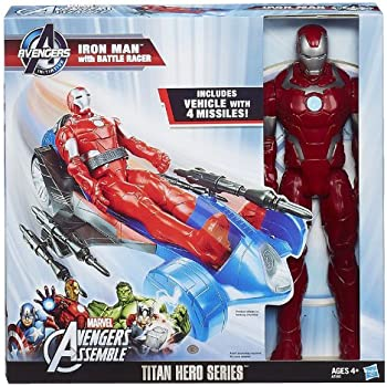 Avengers Assemble Iron Man Figure with Battle Racer Vehicle by Hasbro