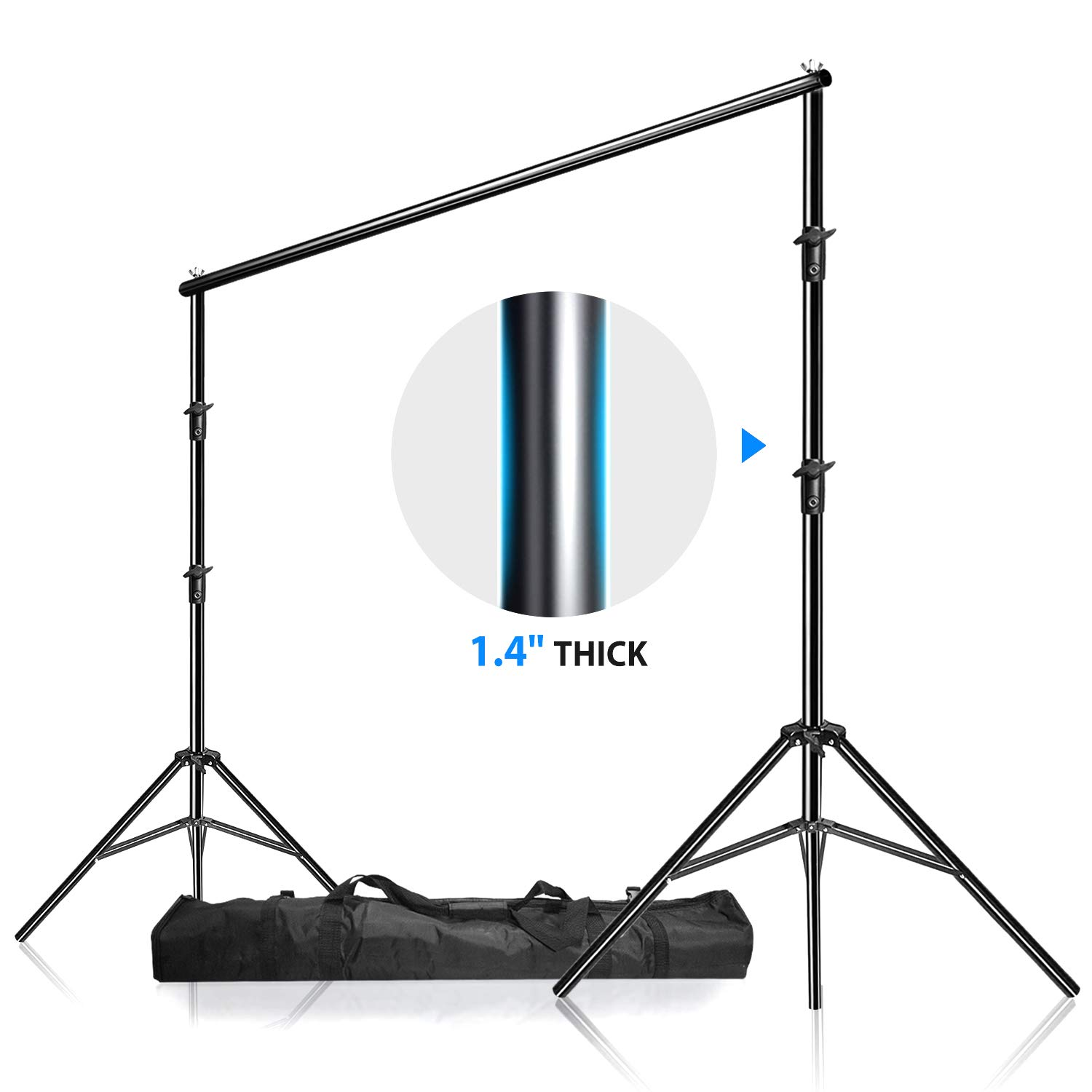 LimoStudio, 12ft (W) x 10ft (H) Backdrop Muslin Support Structure System Strong and Stable 1.4'' Thick Stand Pole, Premium Quality Carry Bag, Photo Video Studio, AGG1782 by LS LIMO STUDIO LIMOSTUDIO