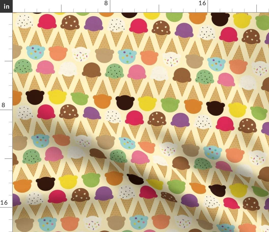 Spoonflower Fabric - Ice Cream Dream Cone Colorful Dessert Whimsical Food Summer Kids Printed on Petal Signature Cotton Fabric by The Yard - Sewing Quilting Apparel Crafts Decor