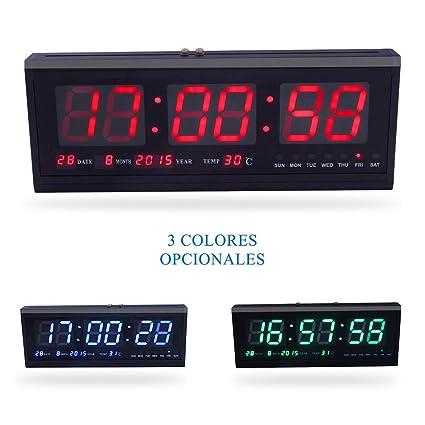 d7cfa3e21890 Fdit LED Reloj Digital Grande con Tiempo Calendario Fecha y Temperatura  Indicación Reloj de Escritorio para