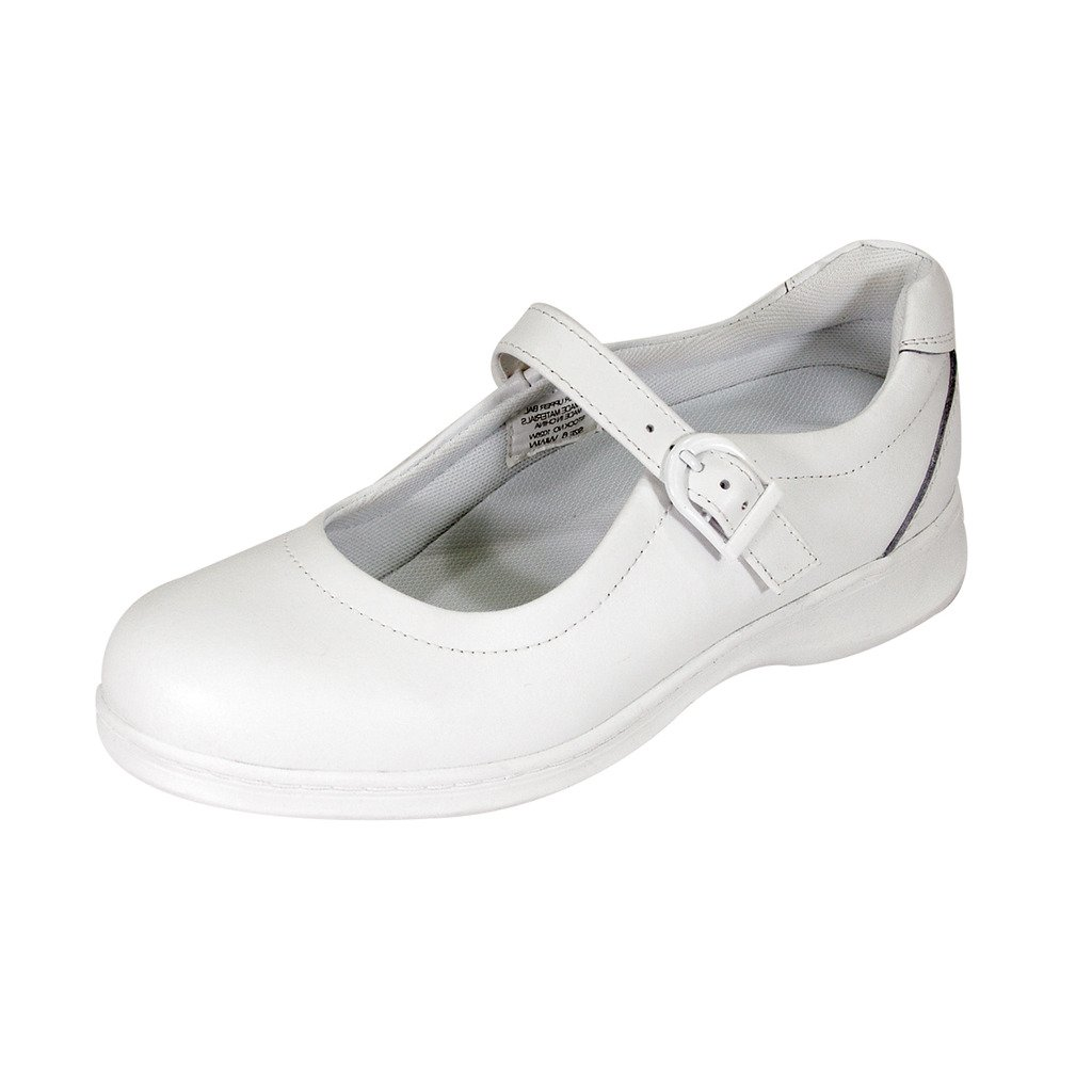 24 Hour Comfort  Cara Women Extra Wide Width Adjustable Buckle Step in Mary Jane Shoe White 9