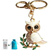 Bolbove Cute Owl on Leaves Sparkling Charm Blingbling Keychain Crystal Rhinestone Pendant