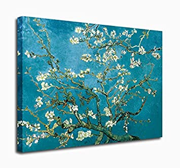yearainn Blue Wall Art Vincent Van Gogh Painting Prints Branches with Almond Blossom – 30 x 40 Large Canvas Artwork for Home Decoration Wall Decor