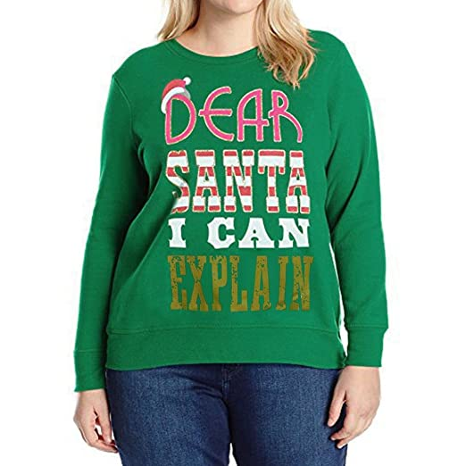 82b871b69c9 Challyhope Clearance Shirts! Women Plus Size Christmas Letter Printed  Sweatshirt Casual Blouses (Green