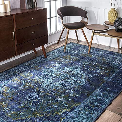 nuLOOM 200MCGZ01C-8010 Reiko Vintage Persian Area Rug, 8' x 10', Blue (Wool Green Rugs)