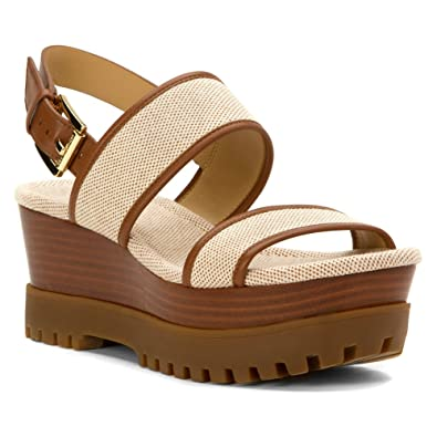 904e80b07747 Amazon.com | Michael Michael Kors Women's Gillian Mid Wedge Luggage Two  Tone Canvas/Nappa Sandal 9.5 M | Platforms & Wedges