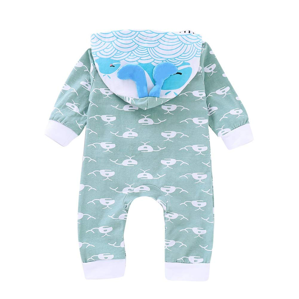 Angmile Infant Girls /& Boys Cartoon Dolphin Print Romper Long Sleeves Climb Soft Cotton Jumpsuit with Pointed Hat 0-24M
