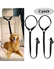 CGBOOM 2 Pack Dog Car Seat Belt, Dual Use Adjustable Dog Car Restraints Leads Harness Pet Puppy Dog Safety Seat Belt for any Cars Vehicle Travel Accessories, (Black)