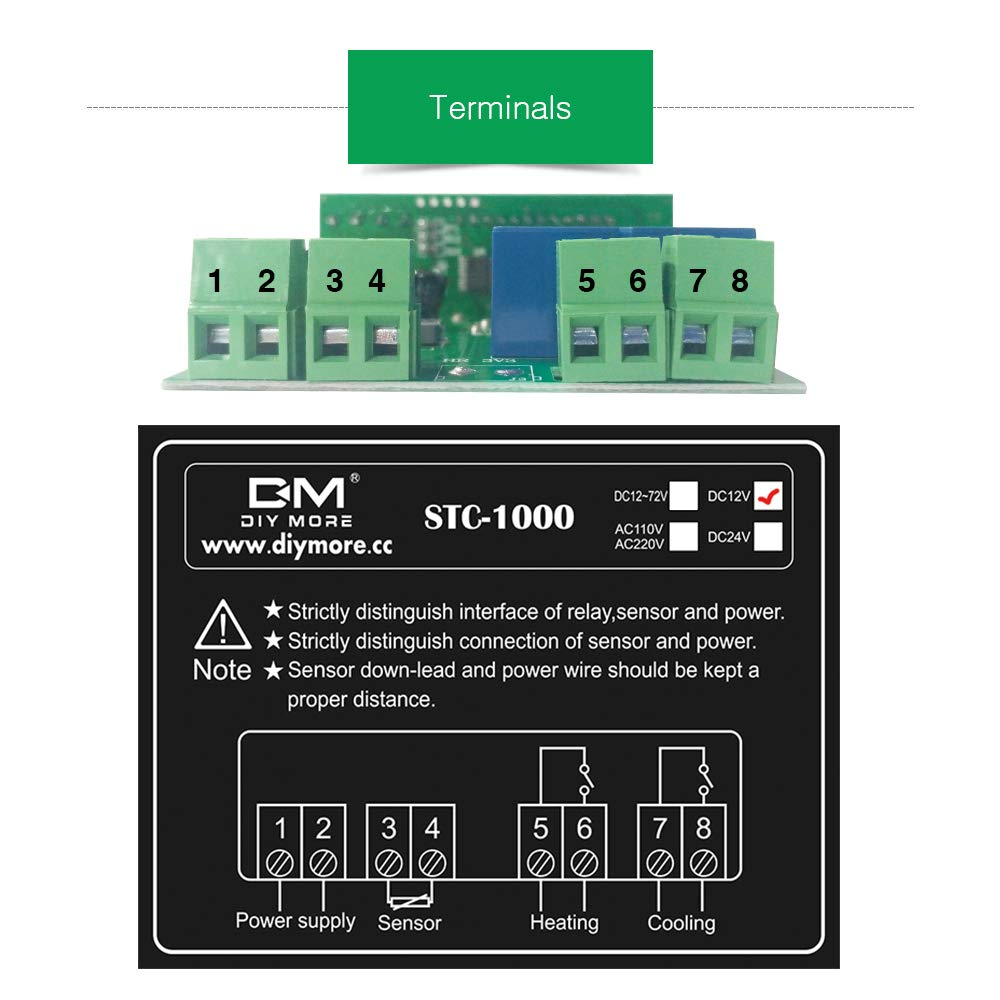 Aideepen AC//DC 12V STC-1000 Digital Thermostat Temperature Controller Thermostat Incubator Thermoregulator Thermometer Thermal Control