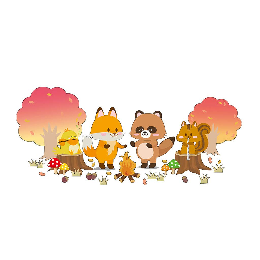 LIEJIE Mobile Creative Wall Affixed with Decorative Wall Window Decoration Forest Cartoon Animal Creative Wall Sticker Children's Room Kindergarten Personality Wall Sticker 50x70cm (Multicolor)