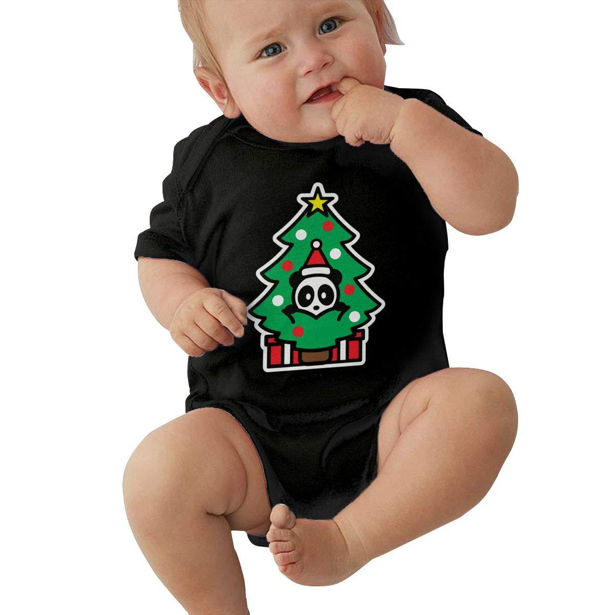 JJKKFG-H Panda Christmas Tree Kawaii Summer Baby Girls Boys Short Sleeve Bodysuit Jumpsuit Outfits Shirt