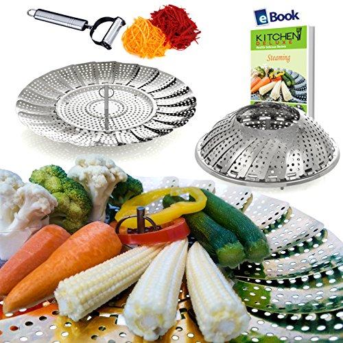 Vegetable Steamer Basket Complete Bundle by Kitchen Deluxe - 100% Prime Stainless Steel - Bonus 2 in 1 Ultra Sharp