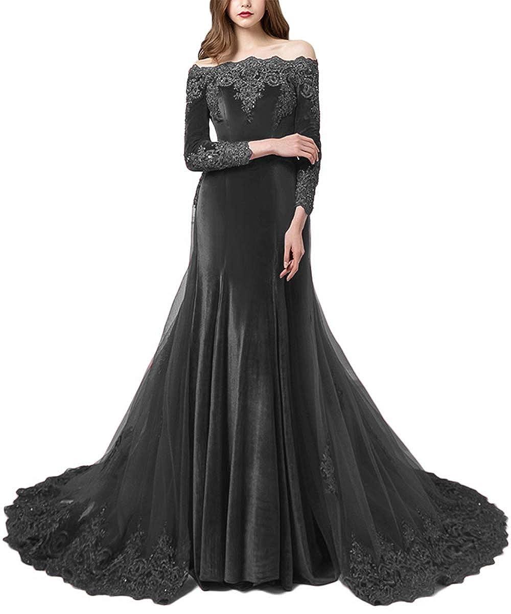 Grey Promworld Women's Off the Shoulder Velvet Evening Dress with Sleeves Applique Beaded Formal Prom Dress