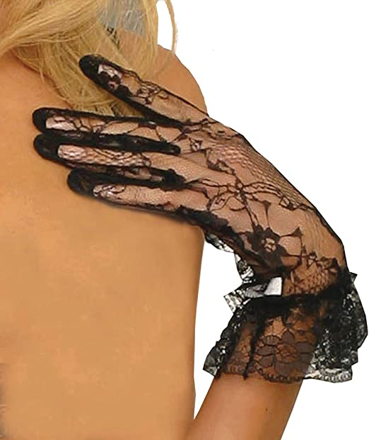 Elegant Moments Womens Lace Wrist Length Gloves with Ruffle Trim