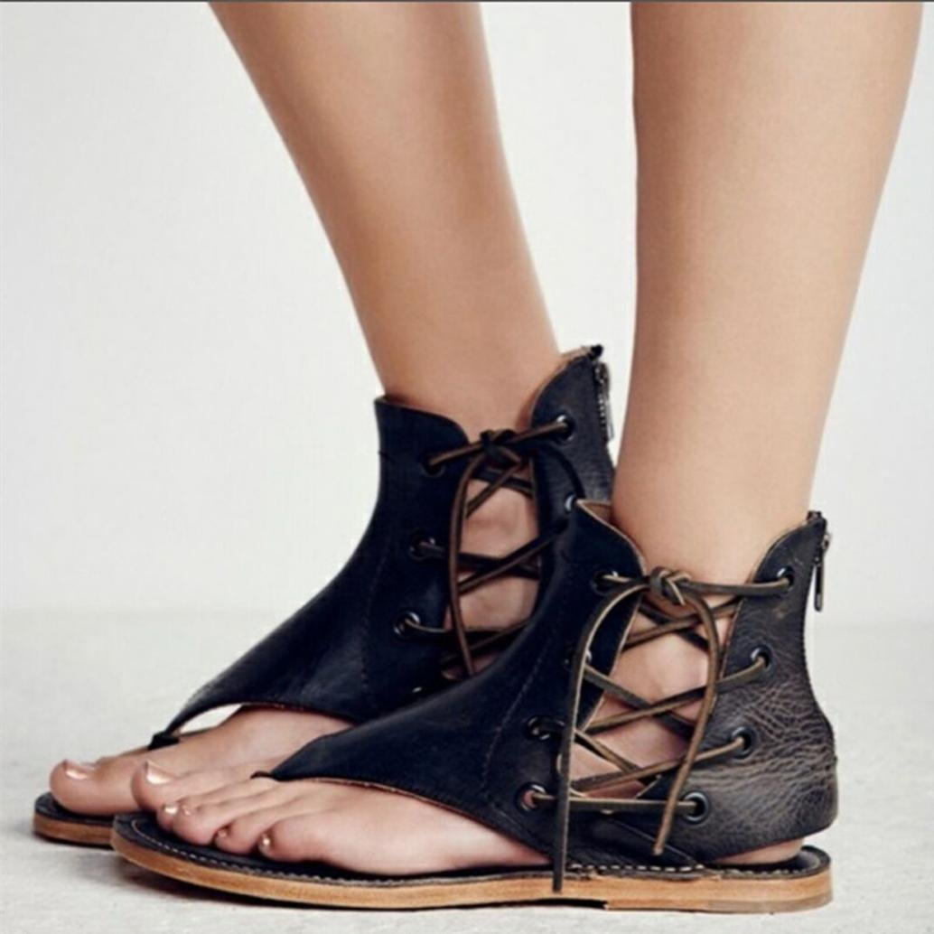 Hemlock Women Strappy Sandals Size 9 Beach Flat Sandals Slipper Flip Flops Roman Shoes (US:8, Black)