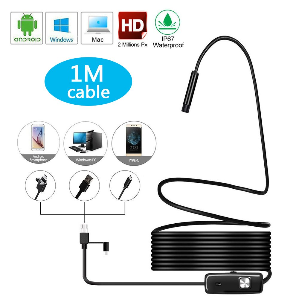 USB Endoscope, ATOOZ 3 in 1 Inspection Camera HD IP67 Waterproof 8mm 8LED 2.0 Megapixel Borescope Flexible Cable for Android Phone MacBook PC and Tablet 1M-.3.3FT