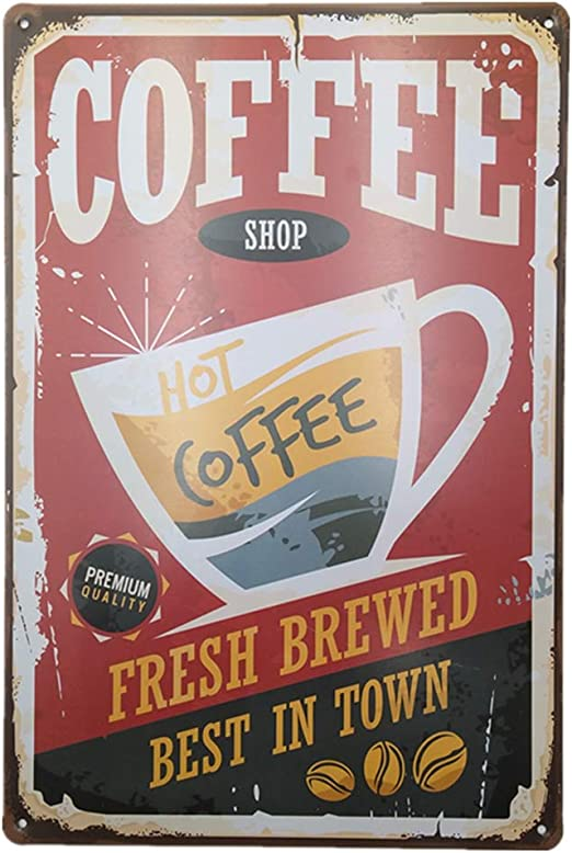 BREWED COFFEE vintage Tin Sign Bar pub home Wall Decor Retro Metal art Poster