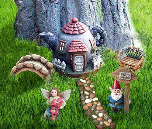 Set Garden Fairy (LA JOLIE MUSE Fairy Garden Gnome Accessories Kit - Hand Painted Miniature Teapot Fairy House Figurine Set of 6 pcs, Gift for Girls Boys Adults, Indoor Outdoor Yard Lawn Decoration)