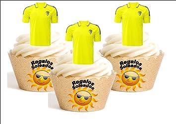 12 x Cadiz Camiseta de Fútbol 2016-17 Decoración Comestible Personalizacion de Reposteria Feliz Cumpleanos