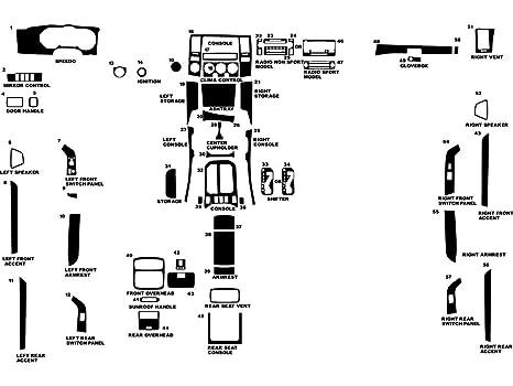 Black Carbon Fiber 3D Rdash Dash Kit Decal Trim for Toyota 4Runner 2006-2009