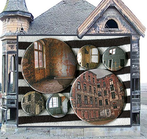 6 Worn Out Houses and Buildings art MIXED SIZE set 1