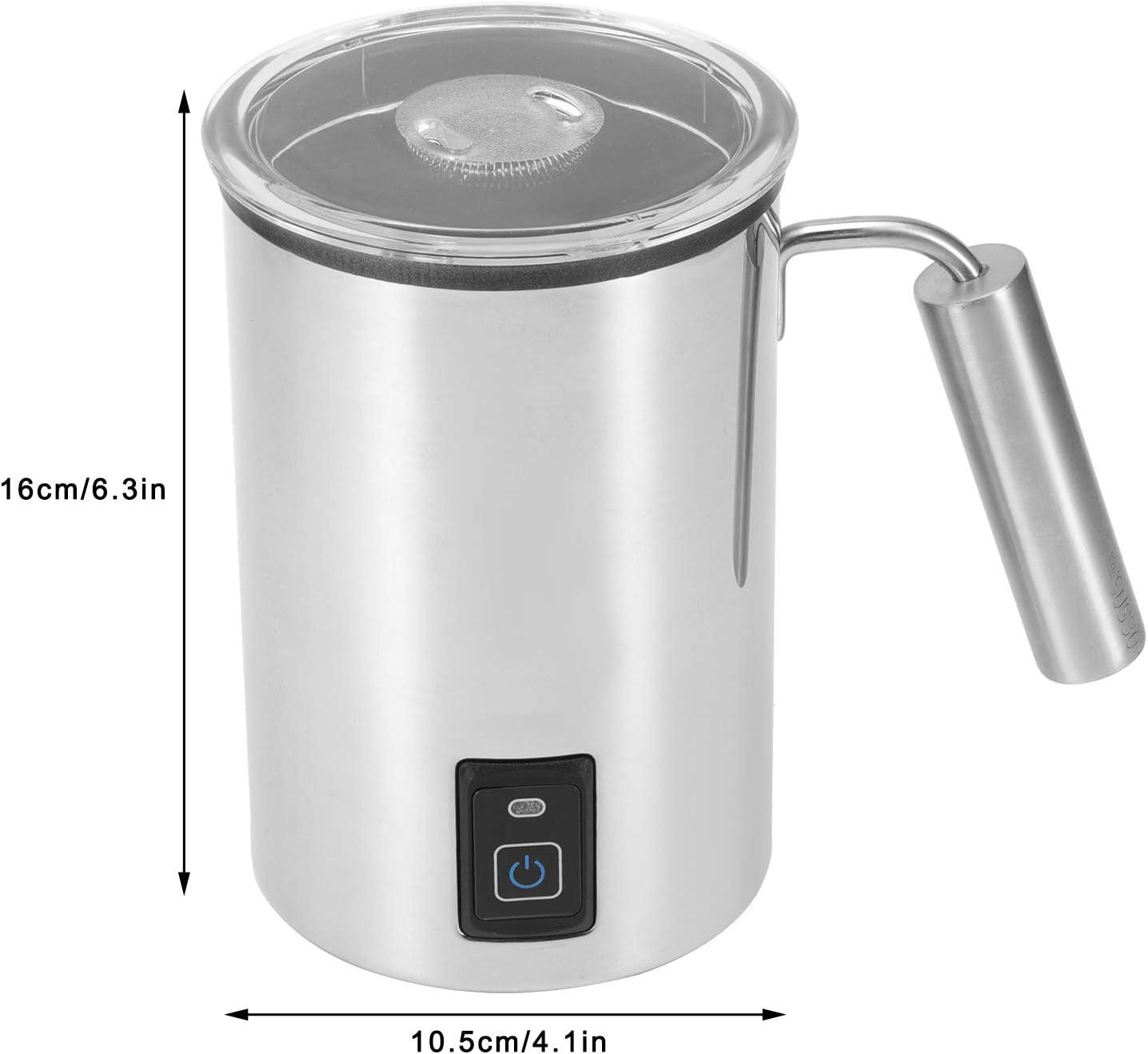 Calentador de Leche 500W EU 220‑240V para preparaci/ón de Espuma de Leche Latte Cappuccinos Calentador de Leche Crema de Leche de Acero Inoxidable Yisentno Espumador de Leche