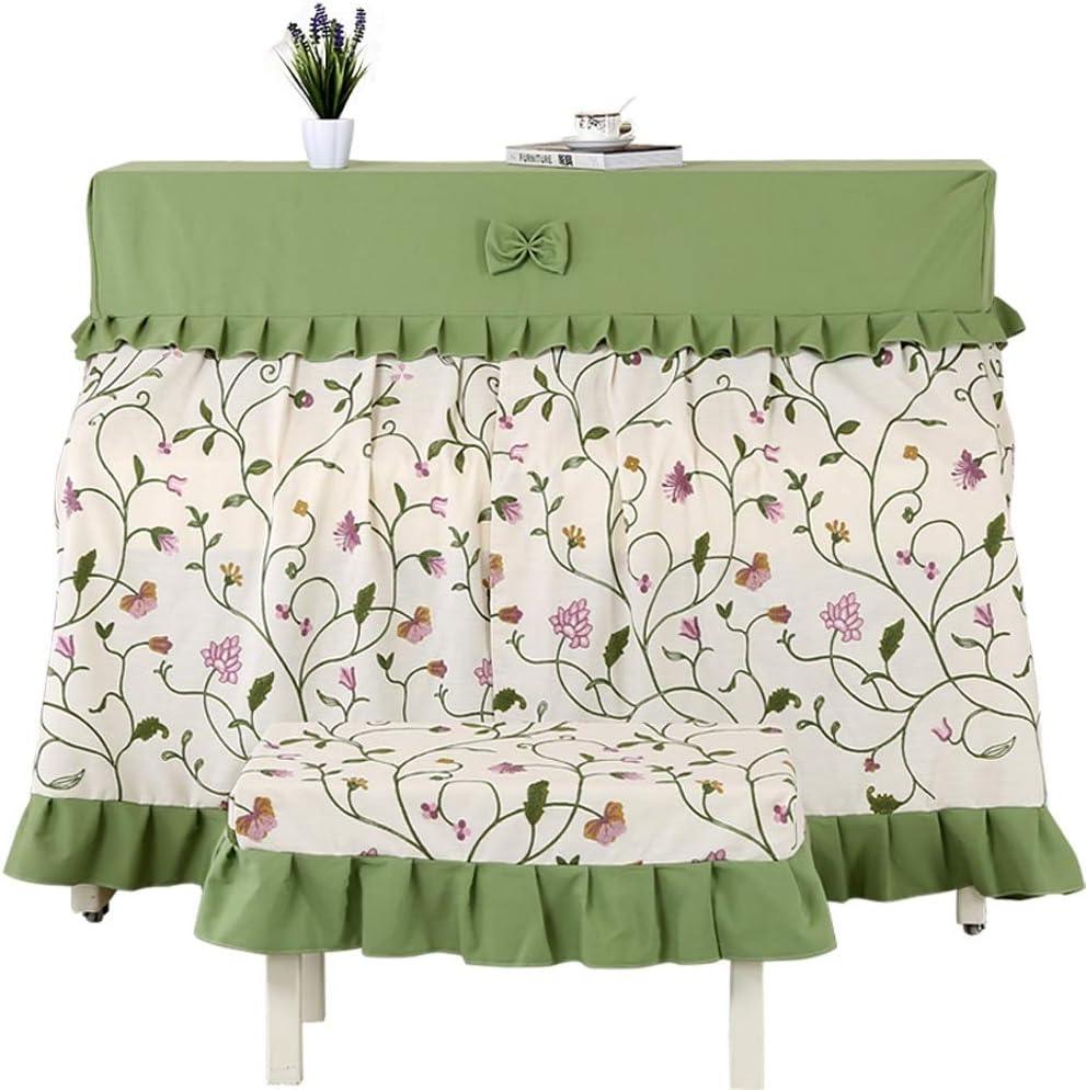 キーボードカバー ピアノのフルカバーの生地刺繍ピアノカバー厚みのピアノスツールカバー韓国語カバータオル近代シンプルなフル・ピアノカバー 可愛い おしゃれ (Color : Green, Size : 40x60cm)