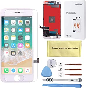 for iPhone 7 Screen Replacement White LCD Display Touch Screen Digitizer Frame Assembly Full Set Free Tools Professional Glass Screen Protector iPhone 7 (4.7 inches)(7 White)
